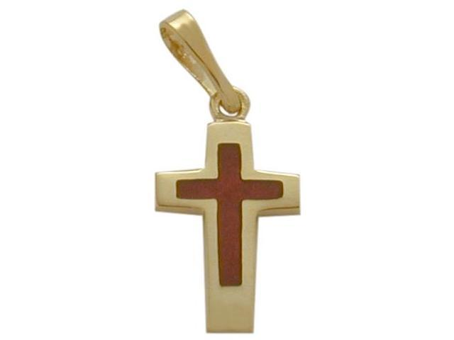 14K Yellow Gold Red Enamel Cross Pendant with Chain