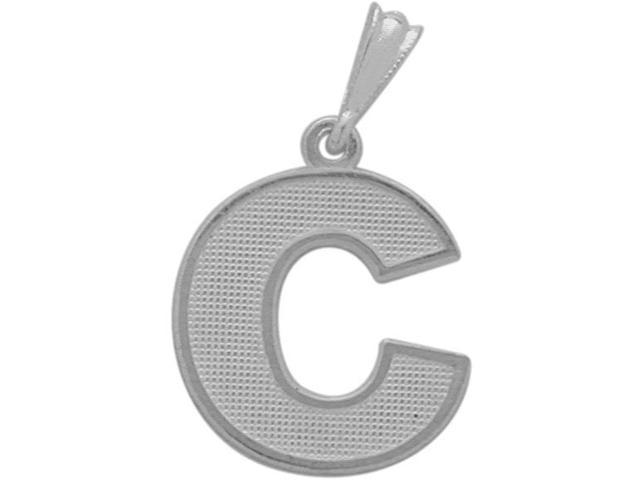 10 Karat White Gold Block Initial C Pendant with Chain