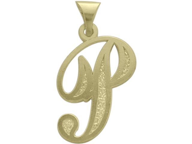 10 Karat Yellow Gold Fancy Initial P Pendant with Chain