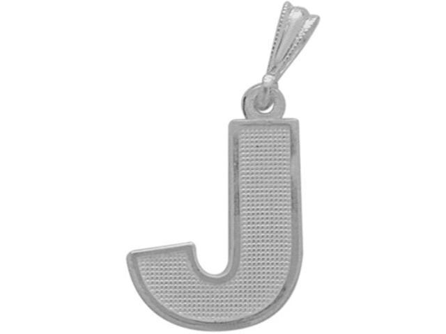 10 Karat White Gold Block Initial J Pendant with Chain