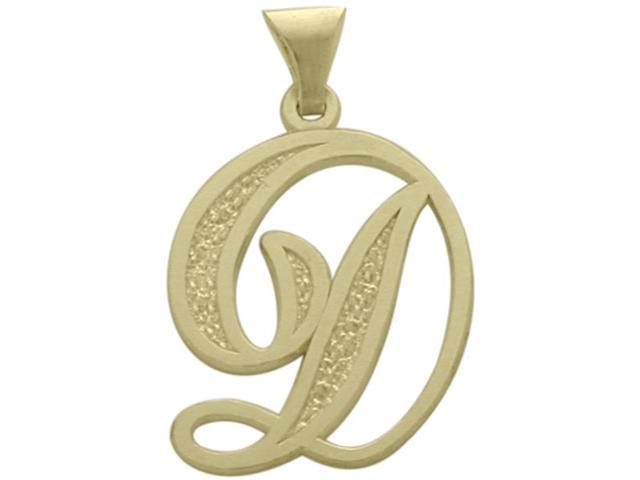 10 Karat Yellow Gold Fancy Initial D Pendant with Chain
