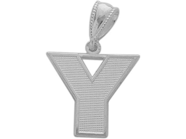 10 Karat White Gold Block Initial Y Pendant with Chain