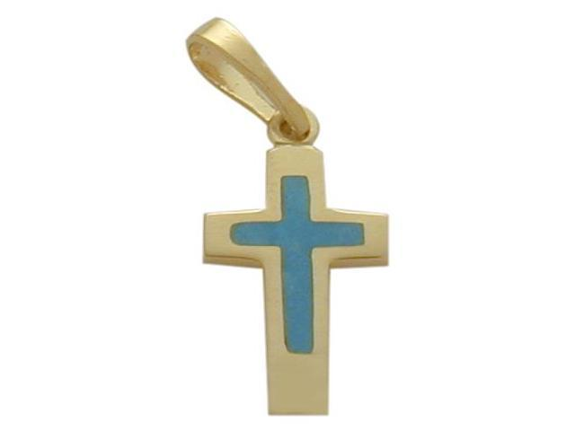 14K Yellow Gold Blue Enamel Cross Pendant with Chain