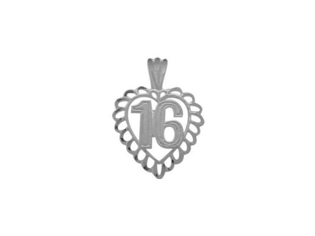 Genuine Sterling Silver Fancy #16 Heart Age Pendant with Chain