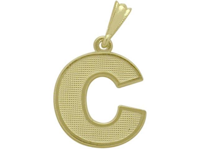 10 Karat Yellow Gold Block Initial C Pendant