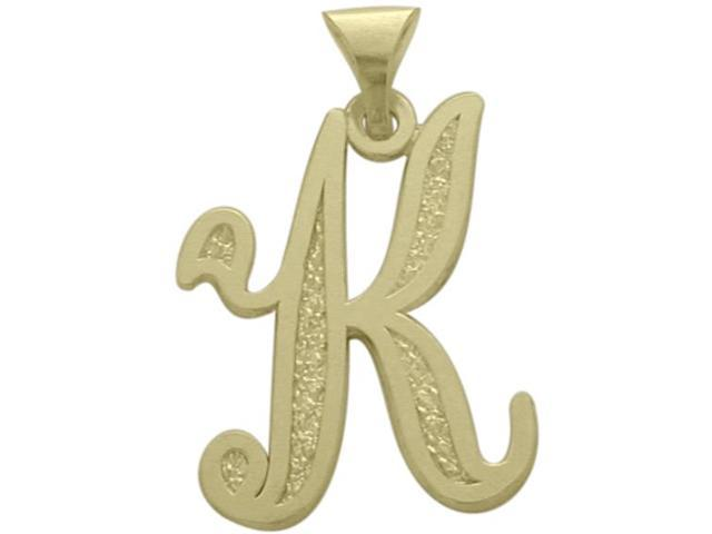 10 Karat Yellow Gold Fancy Initial K Pendant with Chain