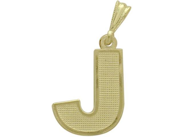 10 Karat Yellow Gold Block Initial J Pendant with Chain