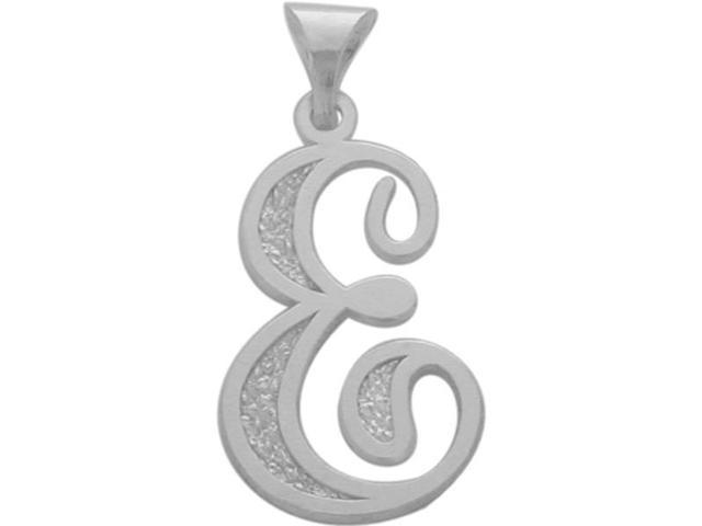 10 Karat White Gold Fancy Initial E Pendant with Chain