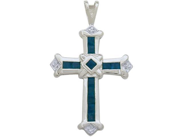 10 Karat White Gold Sapphire & Diamond Cross with a chain