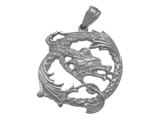 Genuine Sterling Silver Celtic Dragon Pendant with Chain