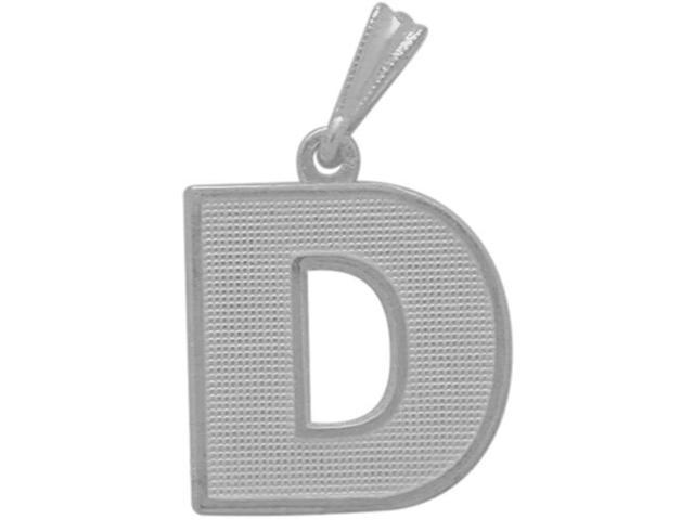 10 Karat White Gold Block Initial D Pendant with Chain