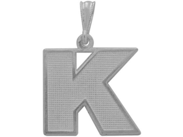 10 Karat White Gold Block Initial K Pendant with Chain