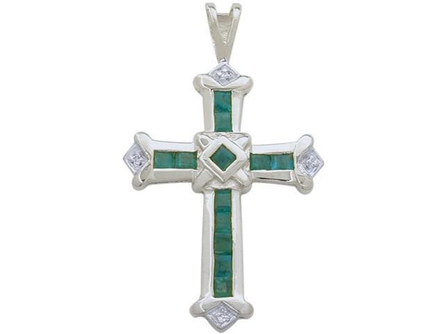 10 Karat White Gold Emerald & Diamond Cross with a chain