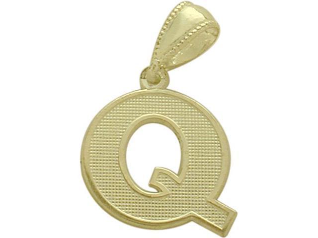 10 Karat Yellow Gold Block Initial Q Pendant with Chain