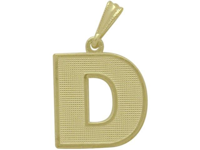 10 Karat Yellow Gold Block Initial D Pendant with Chain