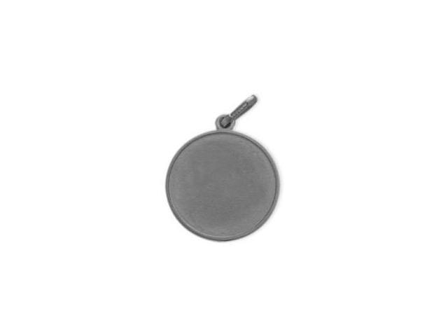 14 Karat White Gold Satin Finish Round Dog Tag with Chain