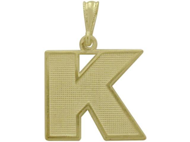 10 Karat Yellow Gold Block Initial K Pendant with Chain