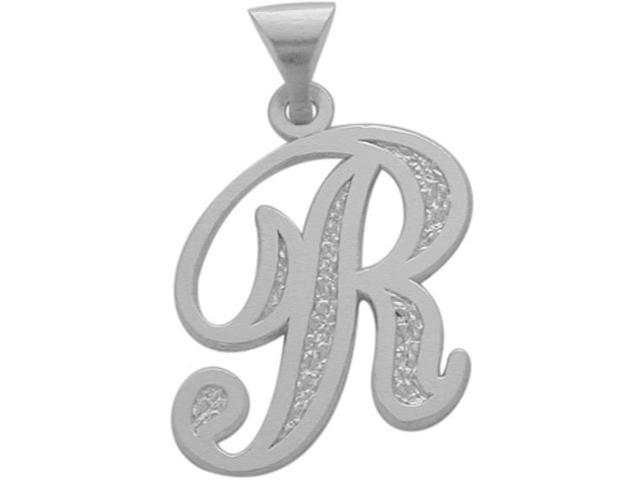 10 Karat White Gold Fancy Initial R Pendant with Chain