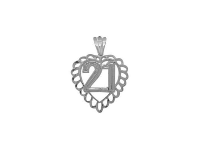 Genuine Sterling Silver Fancy #21 Heart Age Pendant with Chain