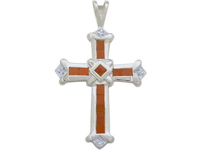 10 Karat White Gold Ruby & Diamond Cross