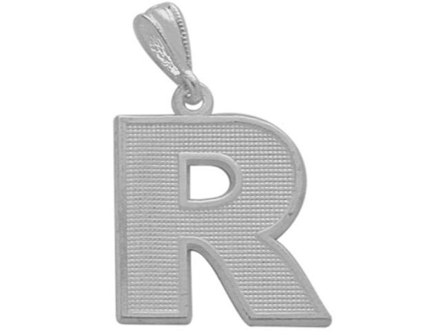 10 Karat White Gold Block Initial R Pendant with Chain