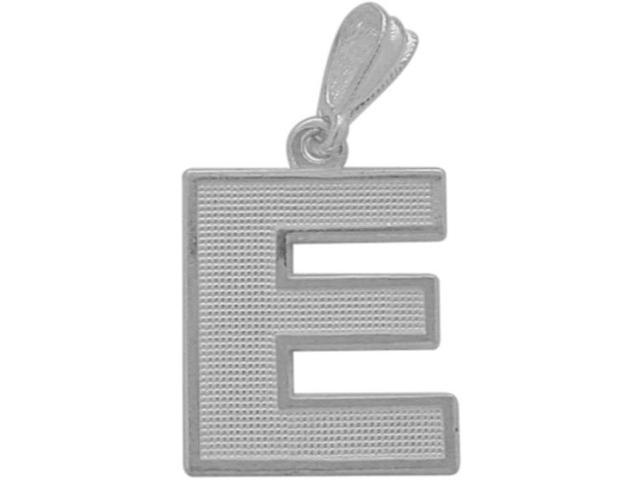 10 Karat White Gold Block Initial E Pendant with Chain