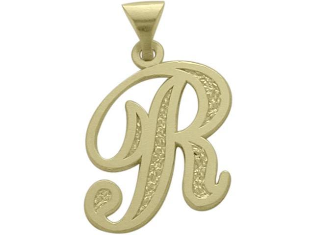 10 Karat Yellow Gold Fancy Initial R Pendant with Chain