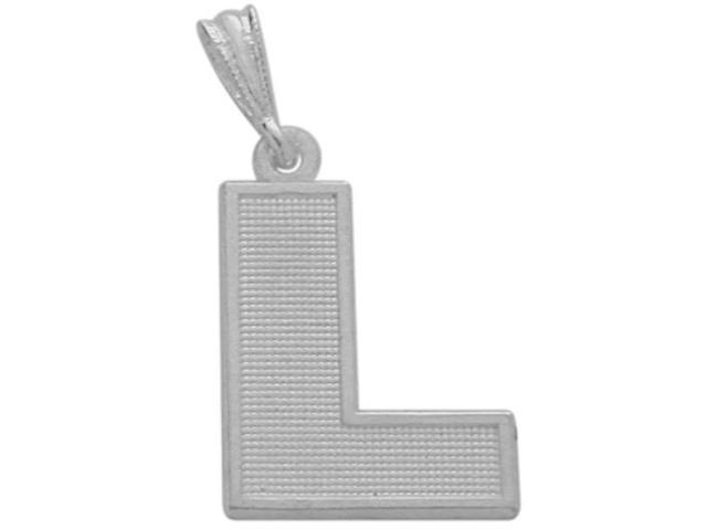 10 Karat White Gold Block Initial L Pendant with Chain