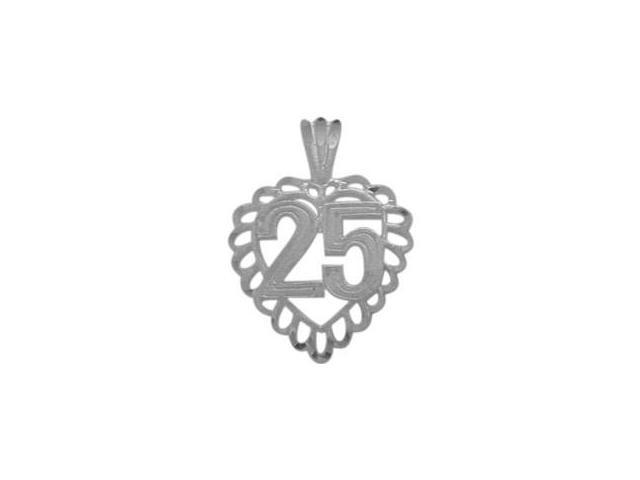 Genuine Sterling Silver Fancy #25 Heart Age Pendant with Chain