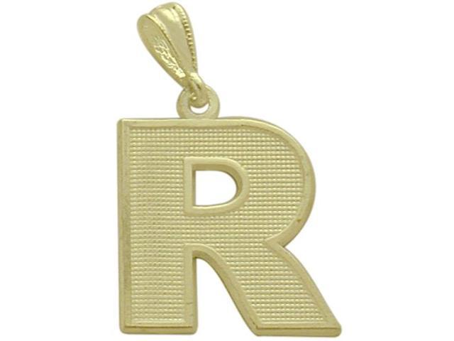 10 Karat Yellow Gold Block Initial R Pendant with Chain