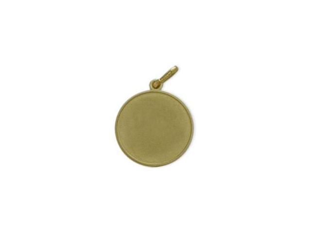 14 Karat Yellow Gold Satin Finish Round Dog Tag with Chain