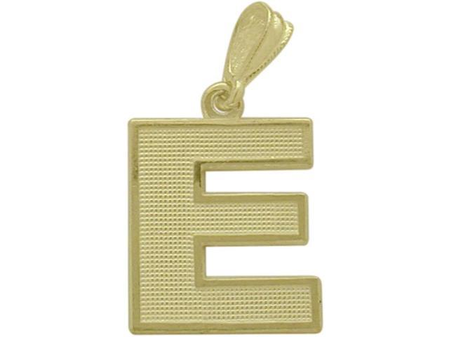 10 Karat Yellow Gold Block Initial E Pendant with Chain
