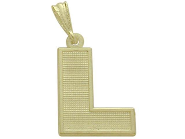 10 Karat Yellow Gold Block Initial L Pendant with Chain