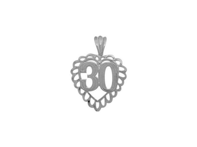 Genuine Sterling Silver Fancy #30 Heart Age Pendant with Chain