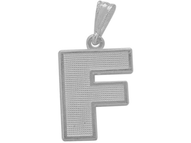 10 Karat White Gold Block Initial F Pendant with Chain