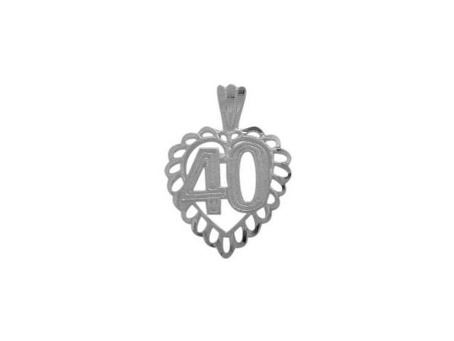 Genuine Sterling Silver Fancy #40 Heart Age Pendant with Chain