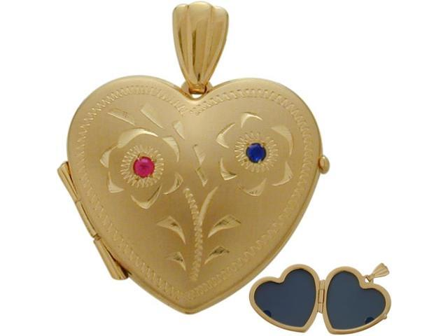 10 Karat Yellow Gold Ruby & Sapphire Heart Locket with Design with a Chain