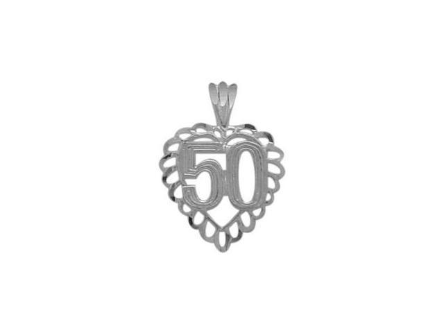Genuine Sterling Silver Fancy #50 Heart Age Pendant with Chain
