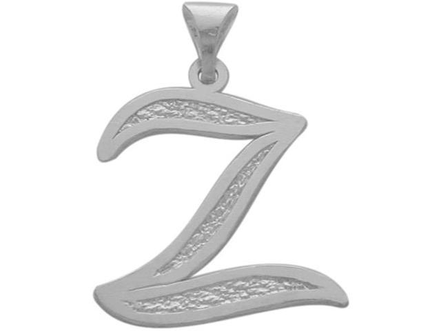 10 Karat White Gold Fancy Initial Z Pendant with Chain