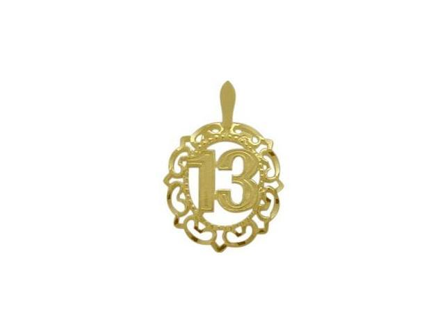 10K Yellow Gold Fancy #13 Circle Age Pendant with Chain