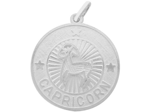 Sterling Silver Capicorn Zodiac Pendant with Chain, 1 Inch