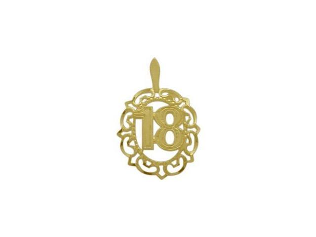10K Yellow Gold Fancy #18 Circle Age Pendant with Chain