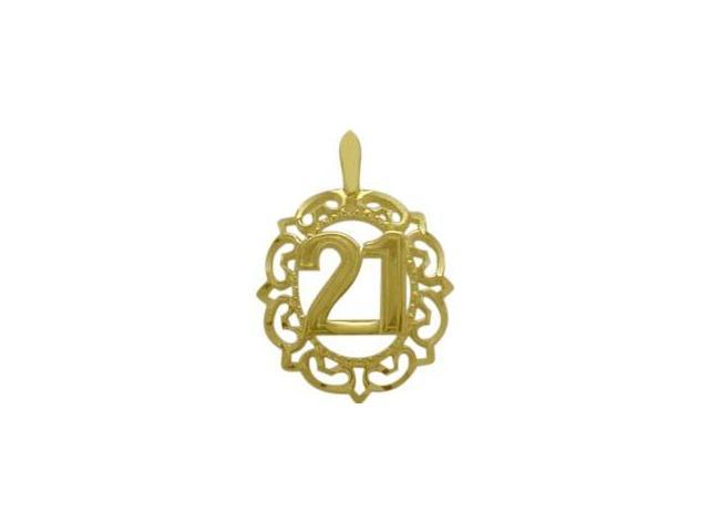 10K Yellow Gold Fancy #21 Circle Age Pendant with Chain