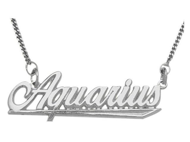 Genuine Sterling Silver Aquarius Script Zodiac Pendant Jan 21 - Feb 19 with Chain