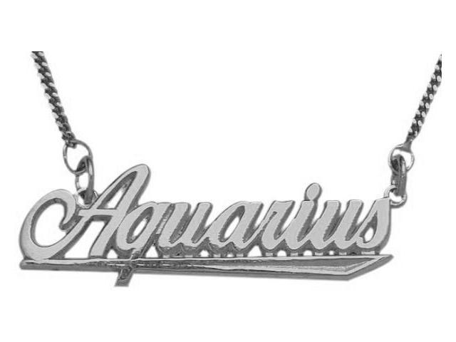 10K White Gold Aquarius Script Zodiac Pendant Jan 21-Feb 19 with Chain