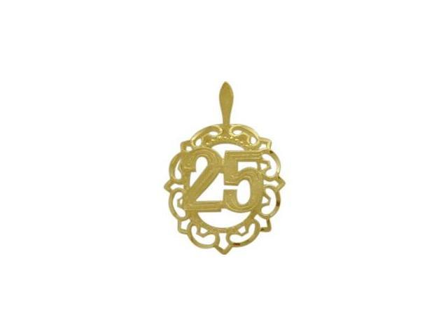 10K Yellow Gold Fancy #25 Circle Age Pendant with Chain