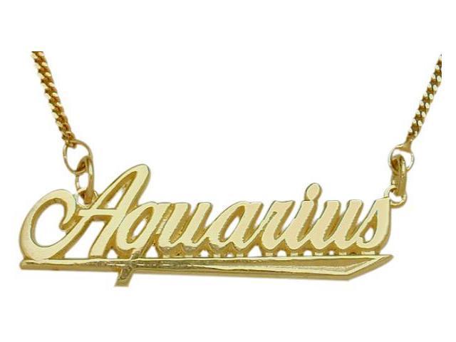 10K Yellow Gold Aquarius Script Zodiac Pendant Jan 21-Feb 19 with Chain