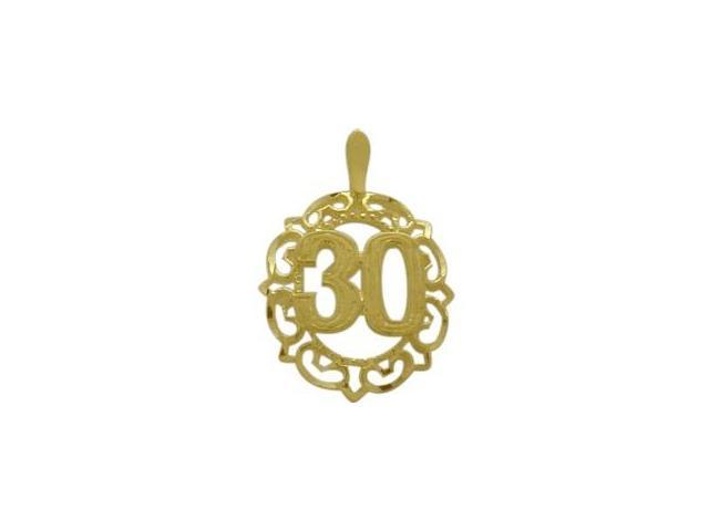 10K Yellow Gold Fancy #30 Circle Age Pendant