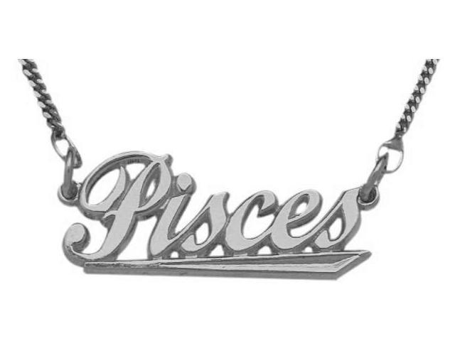 10K White Gold Pisces Script Zodiac Pendant Feb 20 - Mar 21 with Chain
