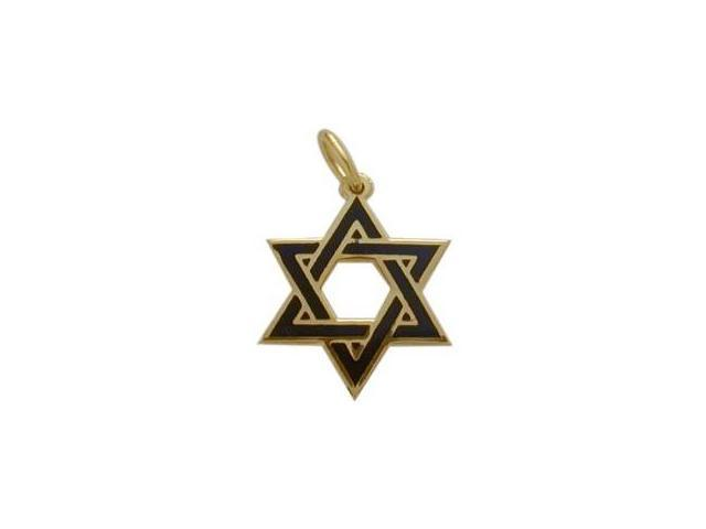 14K Yellow Gold Enamel Star of David Pendant with Chain